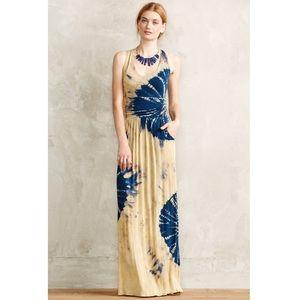 Anthro | Blue/Yellow Tie Dye 'Shibori' Maxi Dress